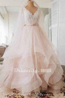 Chicloth Light Pink V-neck Sleeveless Sweep Train Lace Top Tulle Wedding Dress_2