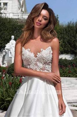 Chicloth Lace Appliques Pockets A-line Satin Wedding Dress_3