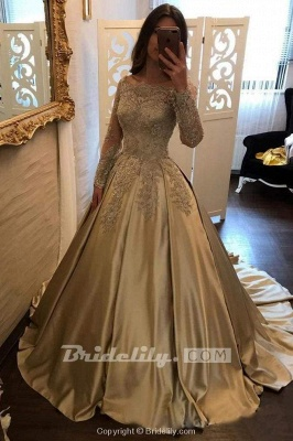 Chicloth Chic Gold Off Shoulder Long Sleeve Ball Gown Appliques Satin Prom Dress_2