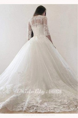 Chicloth Ivory Puffy Half Sleeves Long Vintage Tulle Bateau Appliques Wedding Dress_3