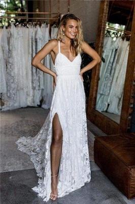 Chicloth A Line Floor Length Split Beach Lace Wedding Dress_1