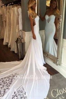 Chicloth Pretty Sheath Sleeveless Long Beach with Lace Wedding Dress_3