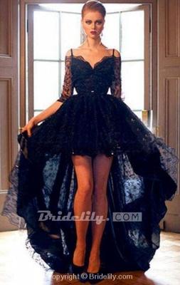 Chicloth Elegant Black Lace High-low Half Sleeves Prom Evening Dress_2