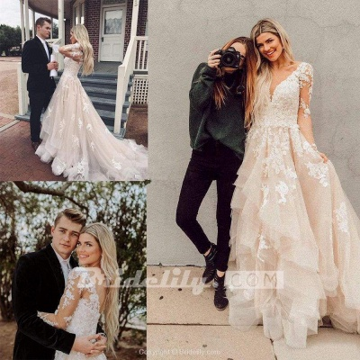 Chicloth Gorgeous V Neck Long Sleeves Lace Appliques Wedding Dress_2