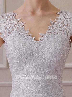 Chicloth Affordable V-Neck Short Sleeves Lace Mermaid Wedding Dresses_5
