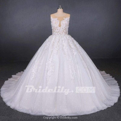 Chicloth Ball Gown Sheer Neck Sleeveless White Lace Appliqued Wedding Dress_5