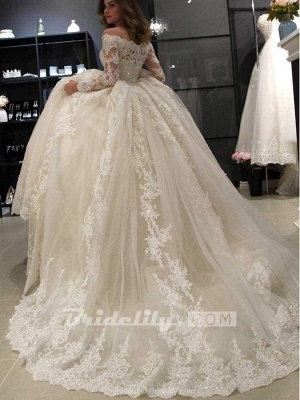 Chicloth Gorgeous Long Sleeves Lace Ball Gown Wedding Dresses_5