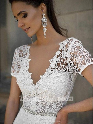 Chicloth Gorgeous V-neck Short Sleeves Lace Mermaid Wedding Dresses_3