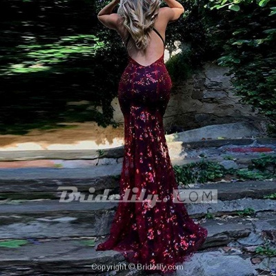 Chicloth Spaghetti Straps V-neck Mermaid Sparkly Tulle Evening Dress Long Prom Gowns_9