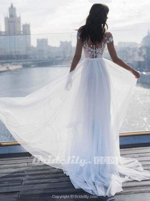 Chicloth Cap Sleeves Covered Button High Split Wedding Dresses_2
