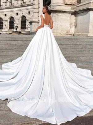 Chicloth Gorgeous V-Neck Sweep Train Ruffles Wedding Dresses_3