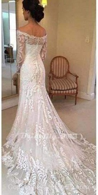 Chicloth White Long Sleeves Off the Shoulder Mermaid Lace Beach Sexy Wedding Dress_2