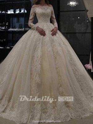 Chicloth Gorgeous Long Sleeves Lace Ball Gown Wedding Dresses_4