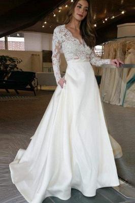 Chicloth V Neck Long Sleeves Ruffles Wedding Dresses_1