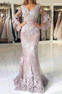 Chicloth Charming V Neck Long Prom Mermaid Lace Appliqued Evening Dress with Sleeves_1