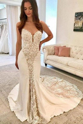 Chicloth Ivory Satin Gorgeous Lace Spaghetti Strap Vintage Mermaid Wedding Dress_1