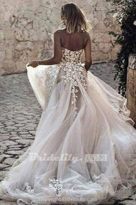 Chicloth Boho Sweetheart Tulle Long Beach Charming Appliques Wedding Dress_2