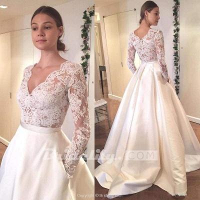 Chicloth V Neck Long Sleeves Ruffles Wedding Dresses_2