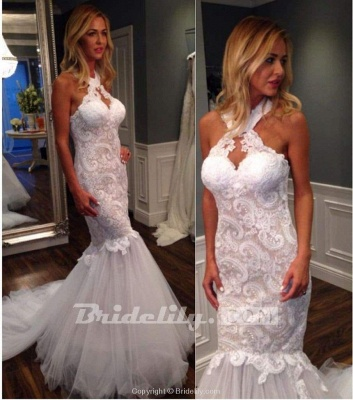 Chicloth Mermaid Halter Sleeveless Tulle with Lace Appliques Long Wedding Dress_2