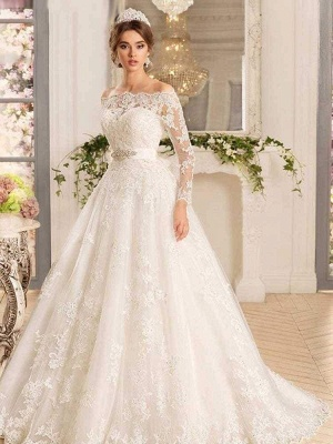 Chicloth Off-the-Shoulder Tulle Ruffles Wedding Dresses_1