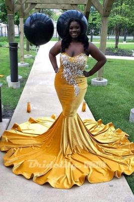 Chicloth Yellow Sleeveless Sweetheart Mermaid Prom Dresses with Train_2