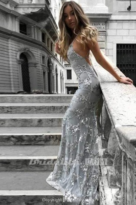 Chicloth Spaghetti Straps V-neck Mermaid Sparkly Tulle Evening Dress Long Prom Gowns_2