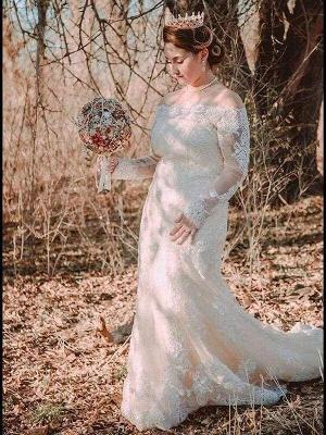 Chicloth Long Sleeves Detachable Train Appliques Mermaid Wedding Dresses_1