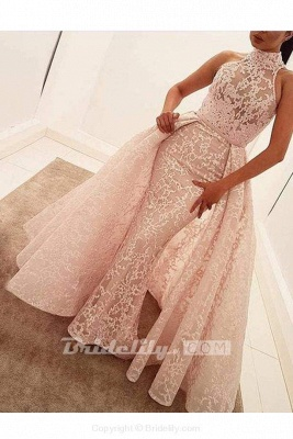 Chicloth Unique Mermaid High Neck Sleeveless Sweep Train Pearl Pink Lace Prom Dress_2