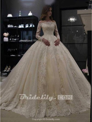 Chicloth Gorgeous Long Sleeves Lace Ball Gown Wedding Dresses_3