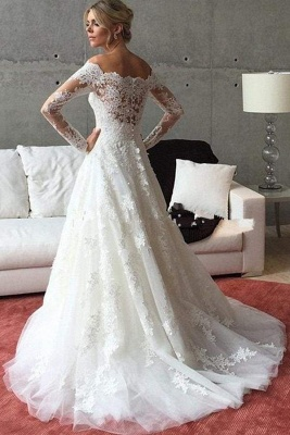 Chicloth A Line Off the Shoulder Long Sleeves Sweep Train Wedding Dress_1