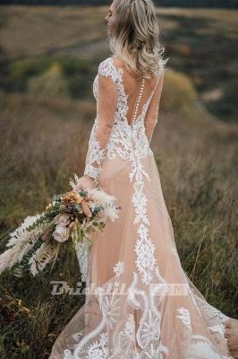 Chicloth Amazing Long Sleeves Boho Lace Appliques Wedding Dress_8