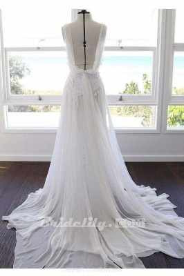 Chicloth Bohemian Cheap Spaghetti Straps Long Beach Wedding Dress_2