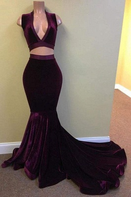 Chicloth Deep V-neck Velvet Mermaid Two Piece Prom Dresses_1