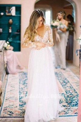 Chicloth Chic A-line Long Sleeve Lace Backless Country Wedding Dress_4