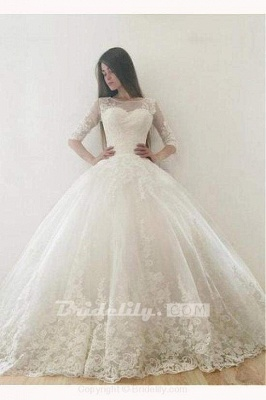 Chicloth Ivory Puffy Half Sleeves Long Vintage Tulle Bateau Appliques Wedding Dress_2