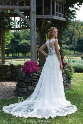 Chicloth Vintage V Neck Sleeveless Tulle Appliqued Wedding Dress_3