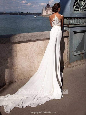 Chicloth Popular Appliques Sweep Train Mermaid Wedding Dresses_2