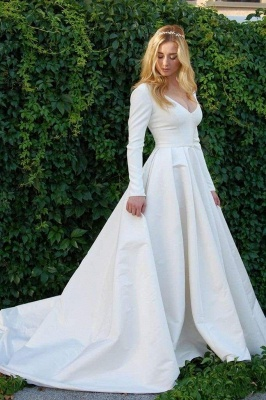 Chicloth New Elegant Satin V Neck Long Sleeve Wedding Dress_1