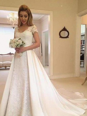 Chicloth V-Neck Short Sleeve Lace Satin A-Line Wedding Dresses_1
