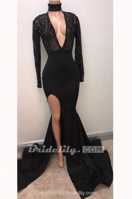 Chicloth Fabulous Black Deep V-neck Long Sleeve Prom Dresses Split Sexy Evening Gown_2