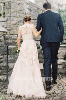 Chicloth Elegant V-neck Sleeveless Cap Sleeves Floor-Length Wedding Dress_2