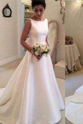 Chicloth Classic Satin A Line Long Backless Wedding Dress_1