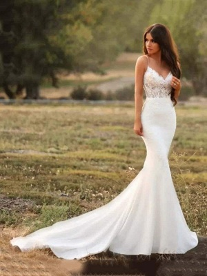Chicloth Spaghetti-Strap V-Neck Mermaid Wedding Dresses_1