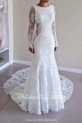 Chicloth Long Sleeves Open Back Lace with Train Mermaid Beach Wedding Dress_2