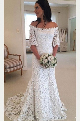 Chicloth White Off the Shoulder Half Sleeves Sweep Train Lace Wedding Dress_1