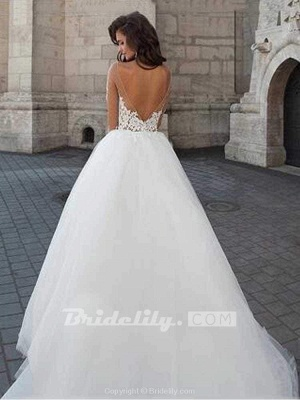 Chicloth New Long Sleeve Backless Lace A-Line Tulle Wedding Dresses_2