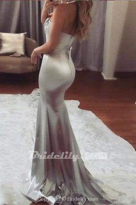 Chicloth Sexy Silver Strapless Sweetheart Mermaid Beading Evening Long Prom Dress_2