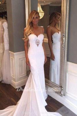 Chicloth Pretty Sheath Sleeveless Long Beach with Lace Wedding Dress_2