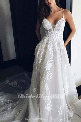 Chicloth Stunning Appliques Lace Spaghetti Straps Wedding Dress_2