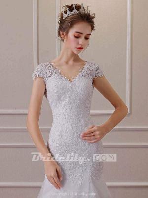 Chicloth Affordable V-Neck Short Sleeves Lace Mermaid Wedding Dresses_2